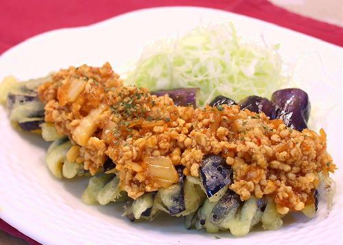 ナスの天ぷらのキムチひき肉あんかけレシピ