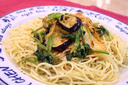 茄子とほうれん草とキムチパスタレシピ