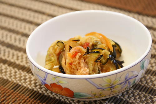 今日のキムチ料理レシピ:茄子とキムチのお漬物