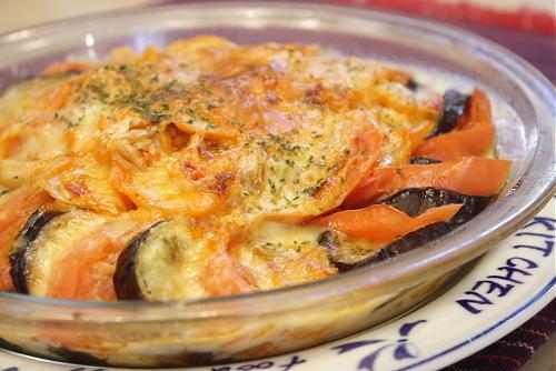 茄子とトマトとキムチのチーズ焼きレシピ