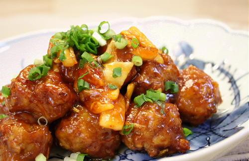 肉団子のキムチ甘酢あんかけレシピ