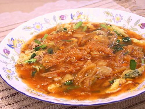 豚ニラ玉のキムチあんかけレシピ