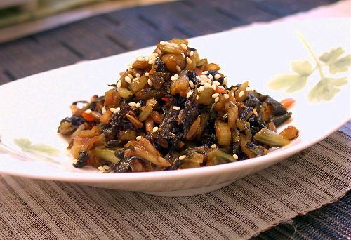 野沢菜のキムチ風味佃煮レシピ