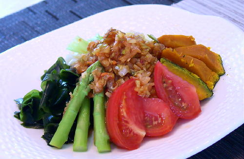 温野菜のキムチねぎだれレシピ