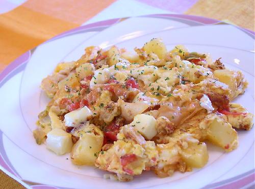 ポテトとトマトのキムチオムレツレシピ