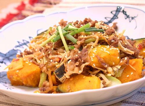 牛肉とかぼちゃのピリ辛炒めレシピ