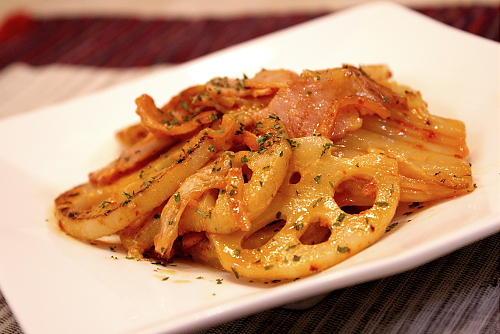 レンコンとキムチのマヨネーズ焼きレシピ