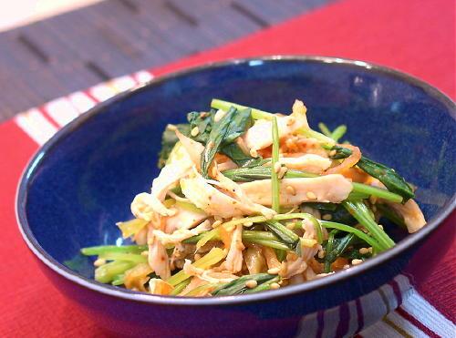 鶏のささみとほうれん草とキムチの和えものレシピ