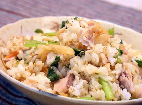 小松菜と鮭のキムチまぜごはんレシピ