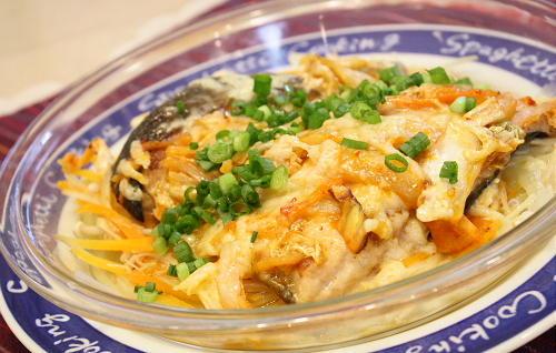 鮭とキムチのレンジ蒸しレシピ