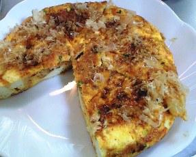キムチと桜海老の豆腐オムレツレシピ