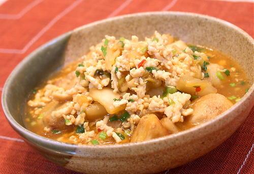 揚げ里芋のキムチひき肉あんかけレシピ