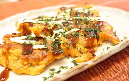 今日のキムチ料理レシピ:割干しキムチとシーフードのプチお好み焼き