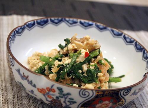 春菊とキムチの白和えレシピ
