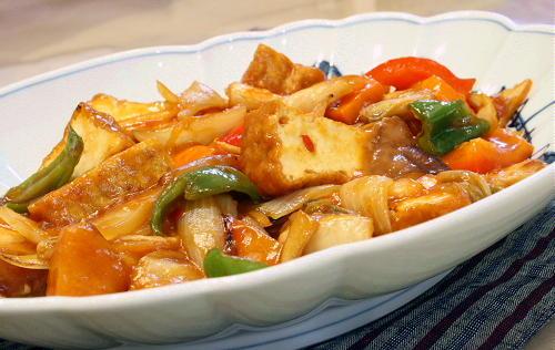 厚揚げとキムチの甘酢炒めレシピ