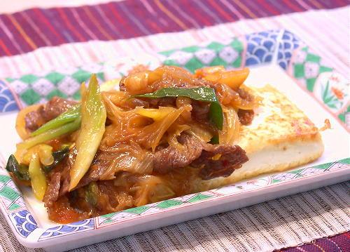 キムチすき焼きソースの豆腐ステーキレシピ