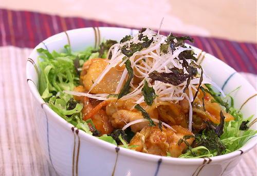 キムチ入り照り焼きチキン丼レシピ