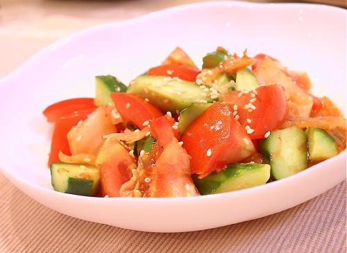 トマトと胡瓜のピリ辛サラダレシピ