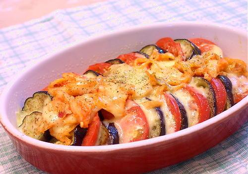 トマトとなすとキムチのチーズ焼きレシピ