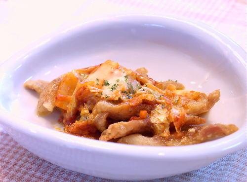 鶏皮肉のキムチチーズ焼きレシピ