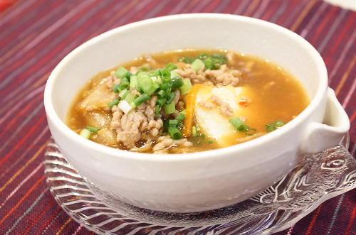 今日のキムチ料理レシピ:揚げだし豆腐のキムチひき肉あんかけ