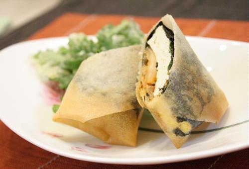 豆腐とキムチの春巻きレシピ
