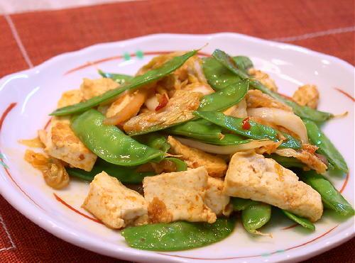豆腐とさやえんどうのキムチ炒めレシピ