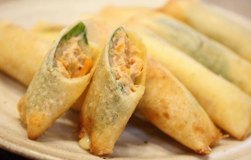 今日のキムチ料理レシピ:シーチキンとキムチの春巻き
