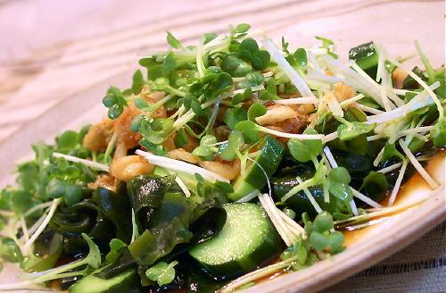 わかめサラダのキムチドレッシングがけレシピ
