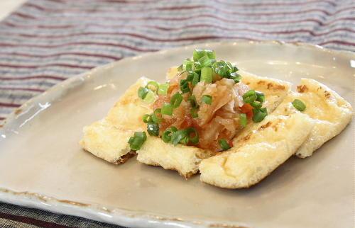 今日のキムチ料理レシピ:焼き油揚げのキムチおろし乗せ