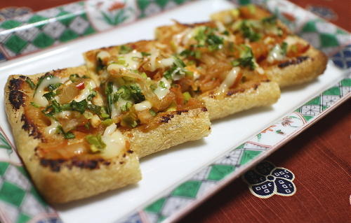 今日のキムチレシピ:油揚げのキムチ味噌焼き