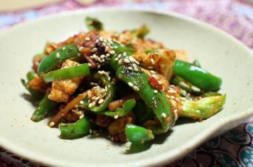 今日のキムチ料理レシピ:ピーマンと油揚げの甘辛みそ炒め