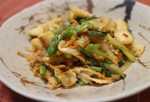今日のキムチレシピ:油揚げのザーサイキムチ炒め