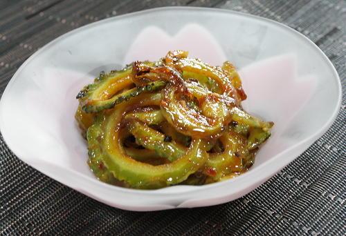 今日のキムチ料理レシピ:甘辛揚げゴーヤ