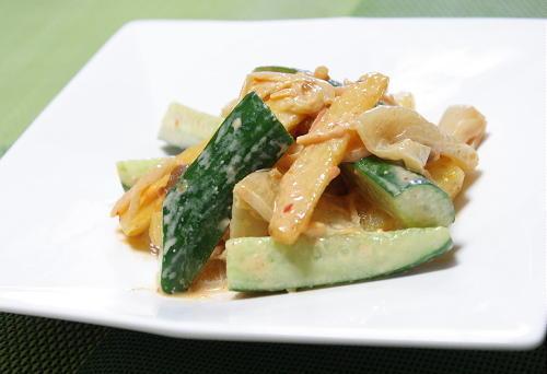 今日のキムチ料理レシピ:揚げ長芋とキムチの味噌マヨ和え