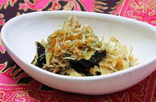 今日のキムチ料理レシピ:揚げ茄子のじゃこキムチ和え