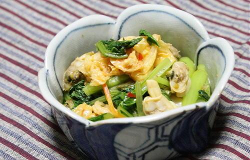 今日のキムチ料理レシピ:小松菜とあさりとキムチのさっと煮