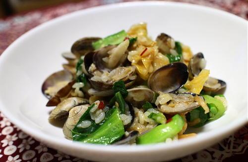 今日のキムチレシピ:あさりと菜の花とキムチの春リゾット