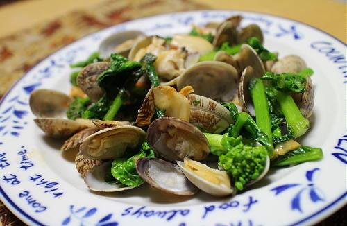 今日のキムチレシピ:あさりと菜の花のキムチ蒸し