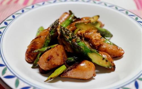 今日のキムチレシピ:アスパラとウインナーとキムチオイマヨ和え