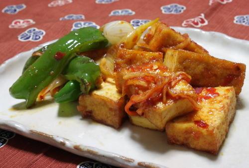 今日のキムチ料理レシピ:厚揚げの甘辛焼き