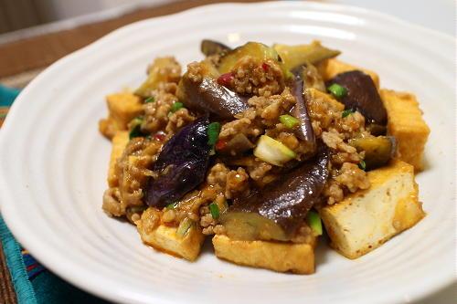 今日のキムチ料理レシピ:厚揚げ茄子麻婆