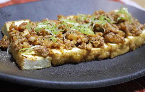 今日のキムチ料理レシピ:厚揚げのひき肉キムチ味噌あんかけ