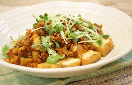 今日のキムチ料理レシピ:厚揚げのキムチひき肉あんかけ
