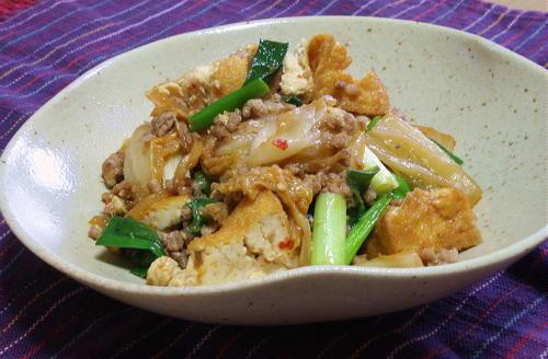 今日のキムチ料理レシピ:厚揚げとキムチのひき肉炒め