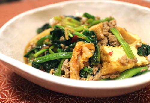 今日のキムチレシピ:厚揚げとほうれん草とキムチのとろみあん