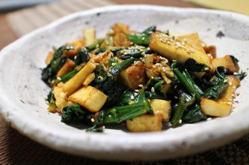 今日のキムチレシピ:厚揚げとほうれん草とキムチの甘辛炒め