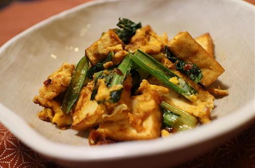 今日のキムチ料理レシピ:厚揚げと小松菜の甘辛炒め