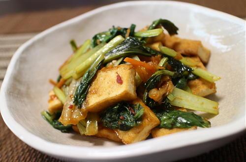 今日のキムチレシピ:厚揚げと小松菜のキムチ甘酢炒め