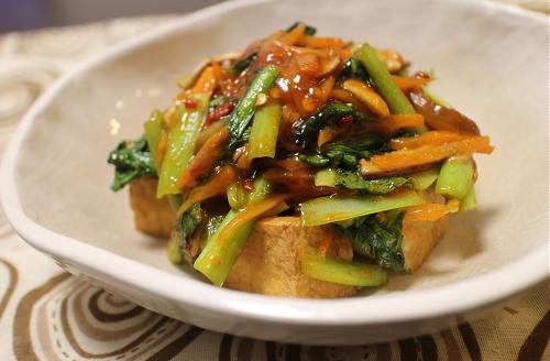 今日のキムチ料理レシピ:厚揚げのピリ辛野菜あんかけ